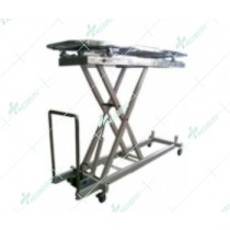 The stainless steel morgue corpses transfer lifting cart.