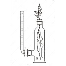 Apparatus for determining the quality of water absorbed and given off by transpiring plants, bottle, side tube.